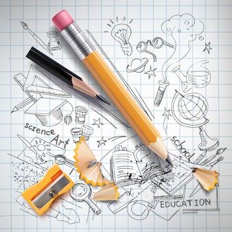 Realistic pencils, sharpener, shavings on notebook paper