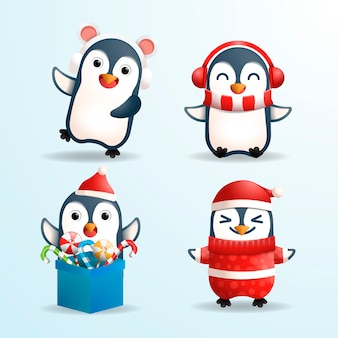 Realistic penguin cartoon christmas characters