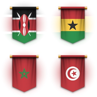 Realistic pennant flag of kenya, ghana, morocco and tunisia