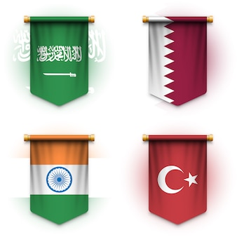 Realistic pennant flag of saudi arabia, qatar, india and turkey