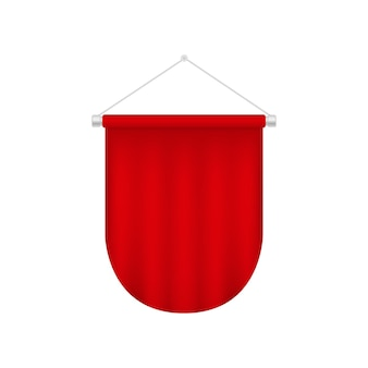 リアルなペナントテンプレート。赤い空白のぶら下げイラスト。