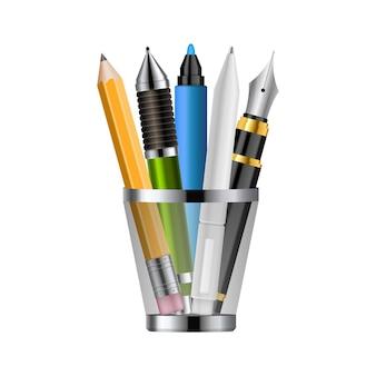 Реалистичные ручки и карандаши из пластикового стекла