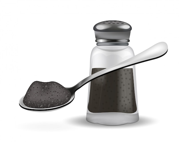 現実的なペッパーボックスとペッパーとスプーン。白い背景の上。スパイスのガラス瓶。図。