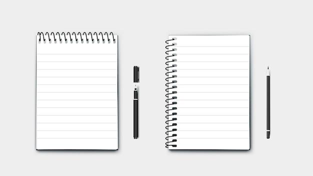 Реалистичные идеальные бумажные блокноты формата а4, горизонтальные и вертикальные с ручкой и карандашом. изолированные на синем фоне современные иллюстрации.