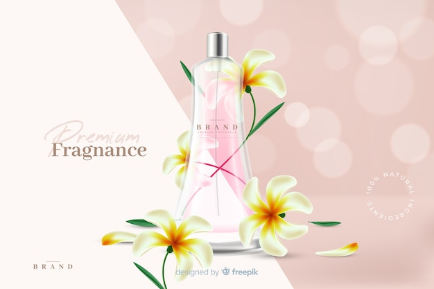 Realistic perfume ad with flowers