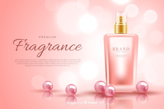 Realistic perfume bottle ad template