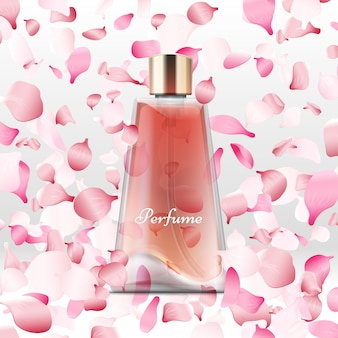 Realistic perfume bottle and flying pink petals