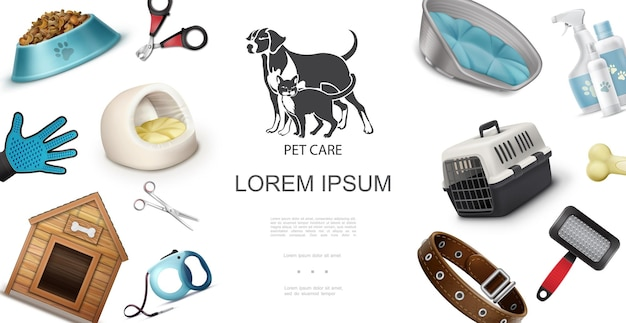 Realistic pets care concept with dog house cat travel carrier comb scissors shampoo food glove clipper bone leash collar  illustration