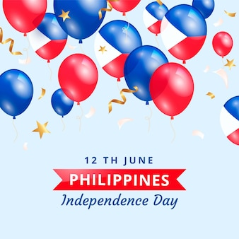 Realistic philippine independence day illustration