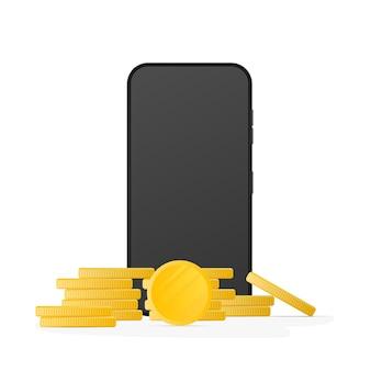リアルな電話と金貨。現代のスマートフォン。