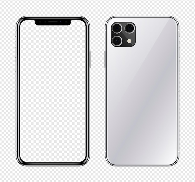 투명 스크린이있는 현실적인 전화기 앞뒤