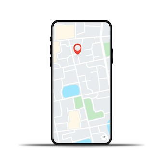 Realistic phone with gps map on a white background