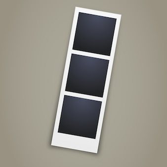 Realistic photo booth image on grey background