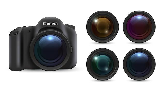 リアルな写真カメラ。白い背景で隔離の3dレンズ。写真機材セット。リアルなカメラレンズ、プロのデジタル写真イラスト