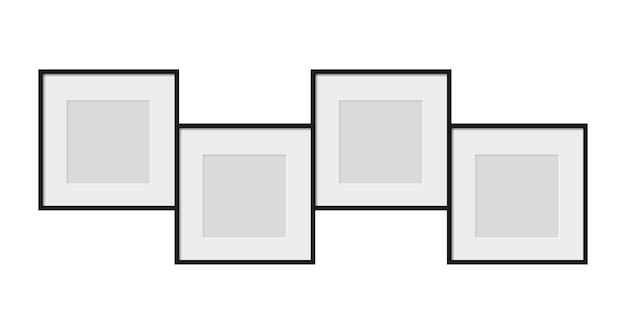 現実的なフォトフレームは、画像のベクトルテンプレートを分離しました空白の白い額縁のモックアップ