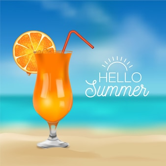こんにちは夏のメッセージとカクテルのリアルな写真