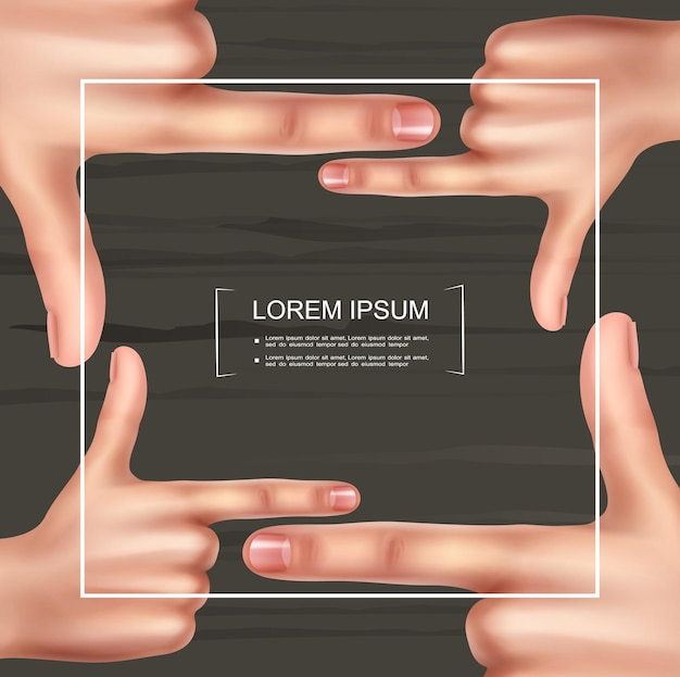 Realistic photographer hand frame template with female hands doing viewfinder gesture on wooden background