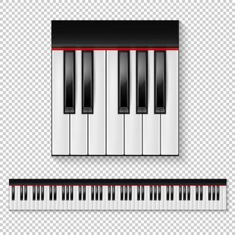 分離された現実的なピアノのキーのクローズアップと透明な背景に分離されたキーボードアイコンを設定します。