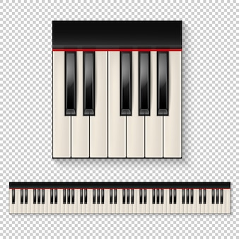 分離されたリアルなピアノのキーのクローズアップと透明な背景に分離されたキーボードアイコンを設定します。