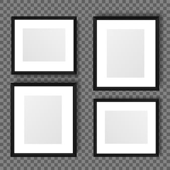 Realistic picture frame isolated on transparent background.