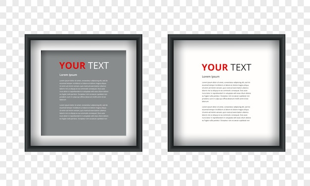 Realistic picture frame isolated on transparent background