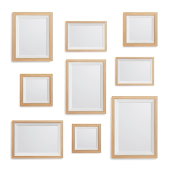 Realistic picture frame on the white wall