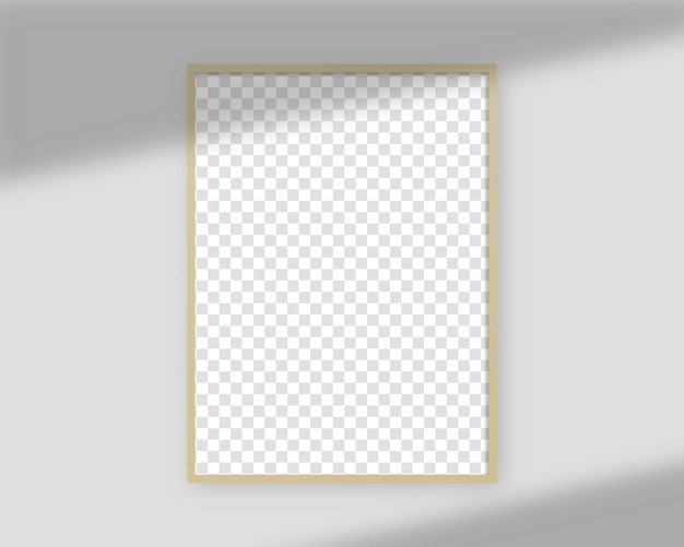 Realistic picture frame with shadow overlay. blank picture frame template. isolated. template design. realistic illustration.