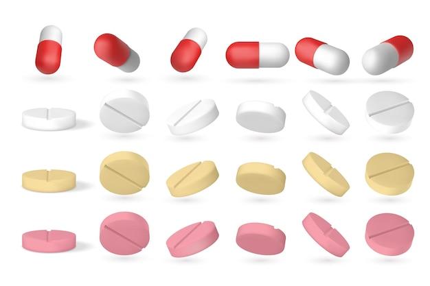 リアルな錠剤。白、医療サプリメントのクローズアップで分離された3d等尺性飛行薬。ベクター薬剤セット、さまざまな位置で分離された錠剤が形成されます