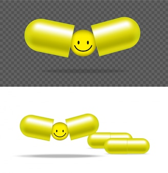 Realistic pill medicine capsule panel with smile on white background
