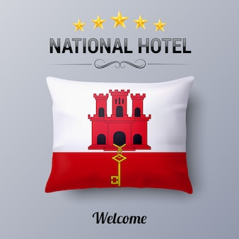 Realistic pillow and flag of gibraltar as symbol national hotel. flag pillow cover with flag