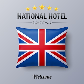 Realistic pillow and flag of great britain as symbol national hotel