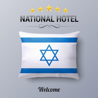 Realistic pillow and flag of israel as symbol national hotel flag