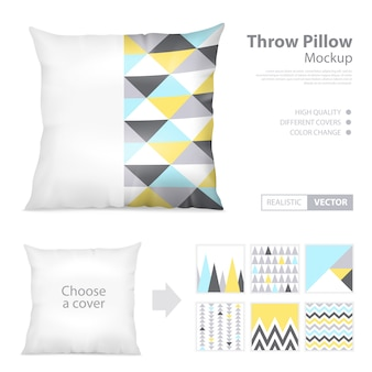Realistic pillows print pattern set