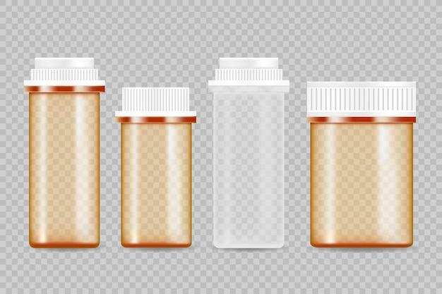 현실적인 약 병. 의약품 포장 모형.