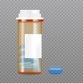 Реалистичная бутылка для таблеток. макет упаковки фармацевтической продукции.