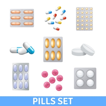 Realistic pills and granules in different colors icons set
