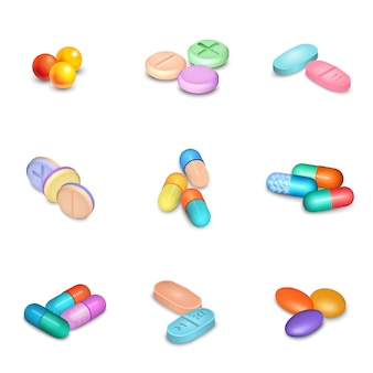 Realistic Pills Icons Set