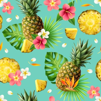 Realistic pineapple seamless pattern