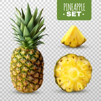 Set realistico di ananas