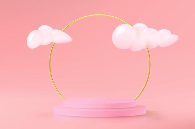 최소한의 스타일로 구름과 황금 반지가있는 제품 데모를위한 빈 연단이있는 현실적인 분홍색 배경