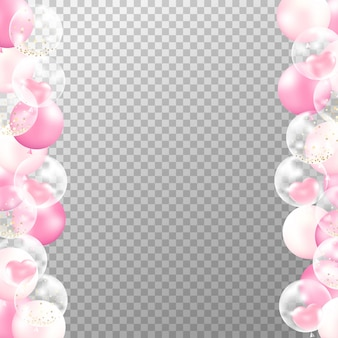 Realistic pink balloons frame on transparent background.
