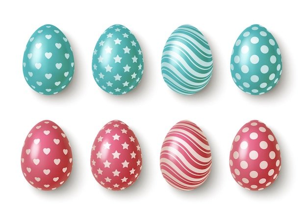 Realistic pink and blue easter eggs with geometric ornaments