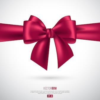 현실적인 핑크 나비와 리본입니다. 장식 선물, 인사말, 휴일 요소입니다. 벡터 일러스트 레이 션.