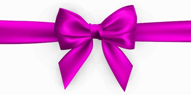 Realistic pink bow. element for decoration gifts, greetings, holidays. Premium Vector