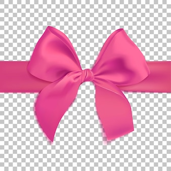 Realistic pink bow isolated on transparent background template for brochure or greeting card