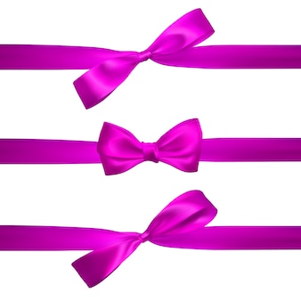 白で隔離の水平ピンクリボンとリアルなピンクの弓。装飾ギフト、挨拶、休日の要素。