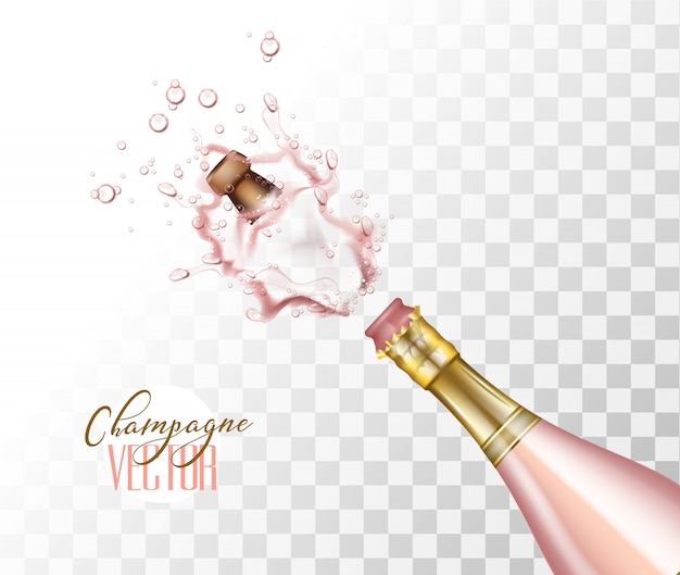 Realistic pink champagne explosion with popping cork closeup on transparent background