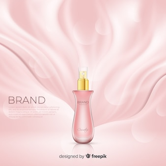 Realistic pink cosmetic ad poster