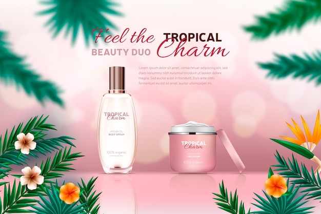 Realistic pink cosmetic ad