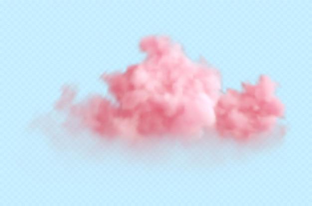 투명 한 파란색에 고립 된 현실적인 분홍색 솜 털 구름